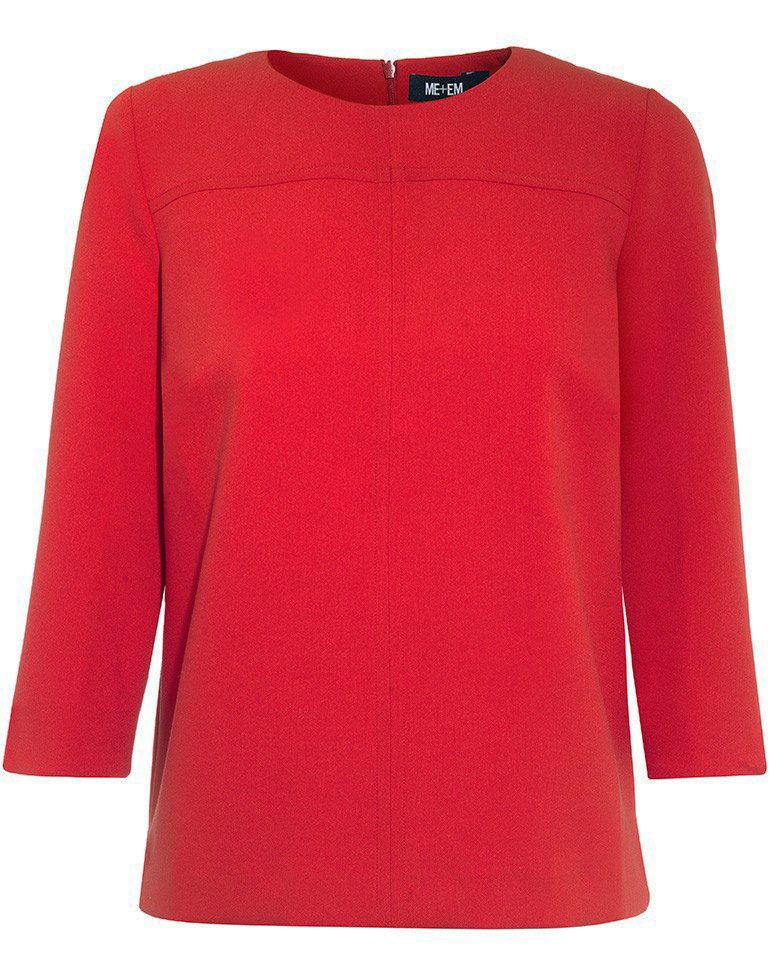 Tailored Top Red - neckline: round neck; pattern: plain; predominant colour: true red; occasions: casual, work, creative work; length: standard; style: top; fibres: polyester/polyamide - 100%; fit: body skimming; sleeve length: long sleeve; sleeve style: standard; pattern type: fabric; texture group: jersey - stretchy/drapey; season: a/w 2016; wardrobe: highlight