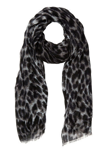 Leopard Print Scarf - predominant colour: black; occasions: casual; type of pattern: heavy; style: regular; size: standard; material: fabric; pattern: animal print; season: a/w 2016; wardrobe: highlight