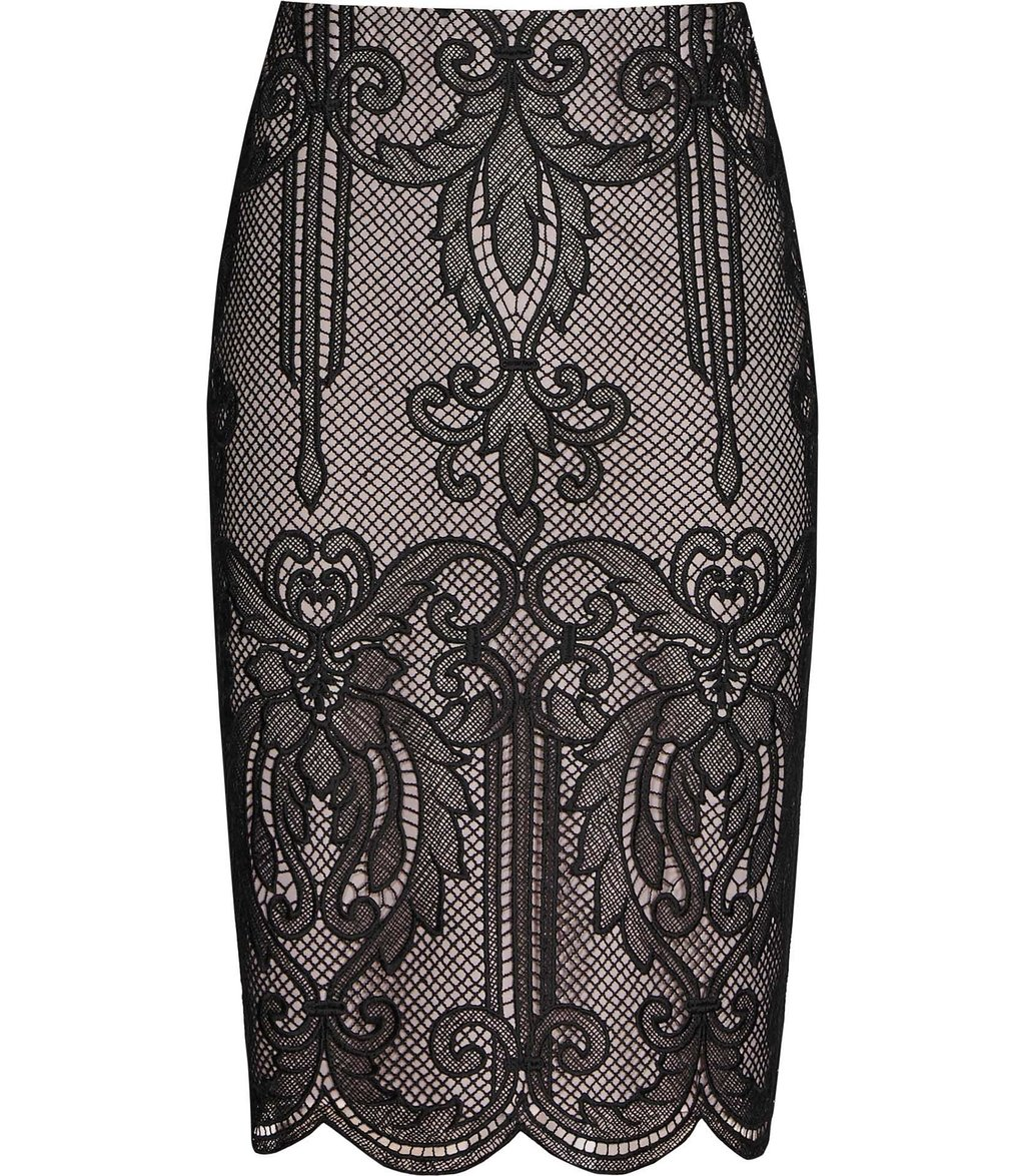 Elaine Womens Lace Pencil Skirt In Black - style: pencil; fit: tailored/fitted; waist: high rise; hip detail: draws attention to hips; secondary colour: ivory/cream; predominant colour: black; occasions: evening, occasion; length: just above the knee; fibres: polyester/polyamide - 100%; texture group: lace; pattern type: fabric; pattern: patterned/print; pattern size: standard (bottom); season: a/w 2016; wardrobe: event