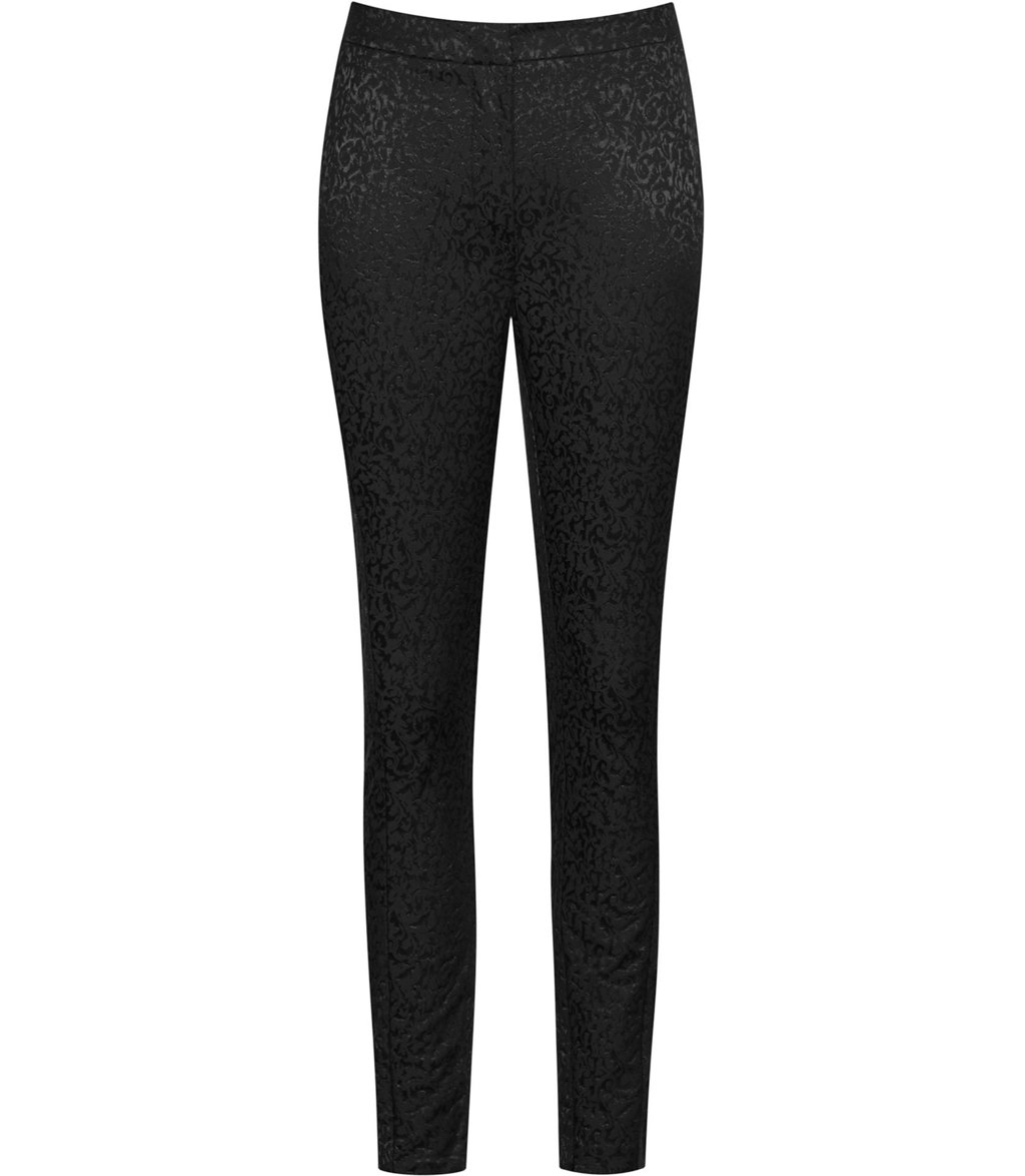 Carlotta Womens Jacquard Trousers In Black - pattern: plain; waist: mid/regular rise; predominant colour: black; occasions: evening; length: ankle length; fibres: cotton - stretch; fit: slim leg; pattern type: fabric; texture group: brocade/jacquard; style: standard; season: a/w 2016; wardrobe: event
