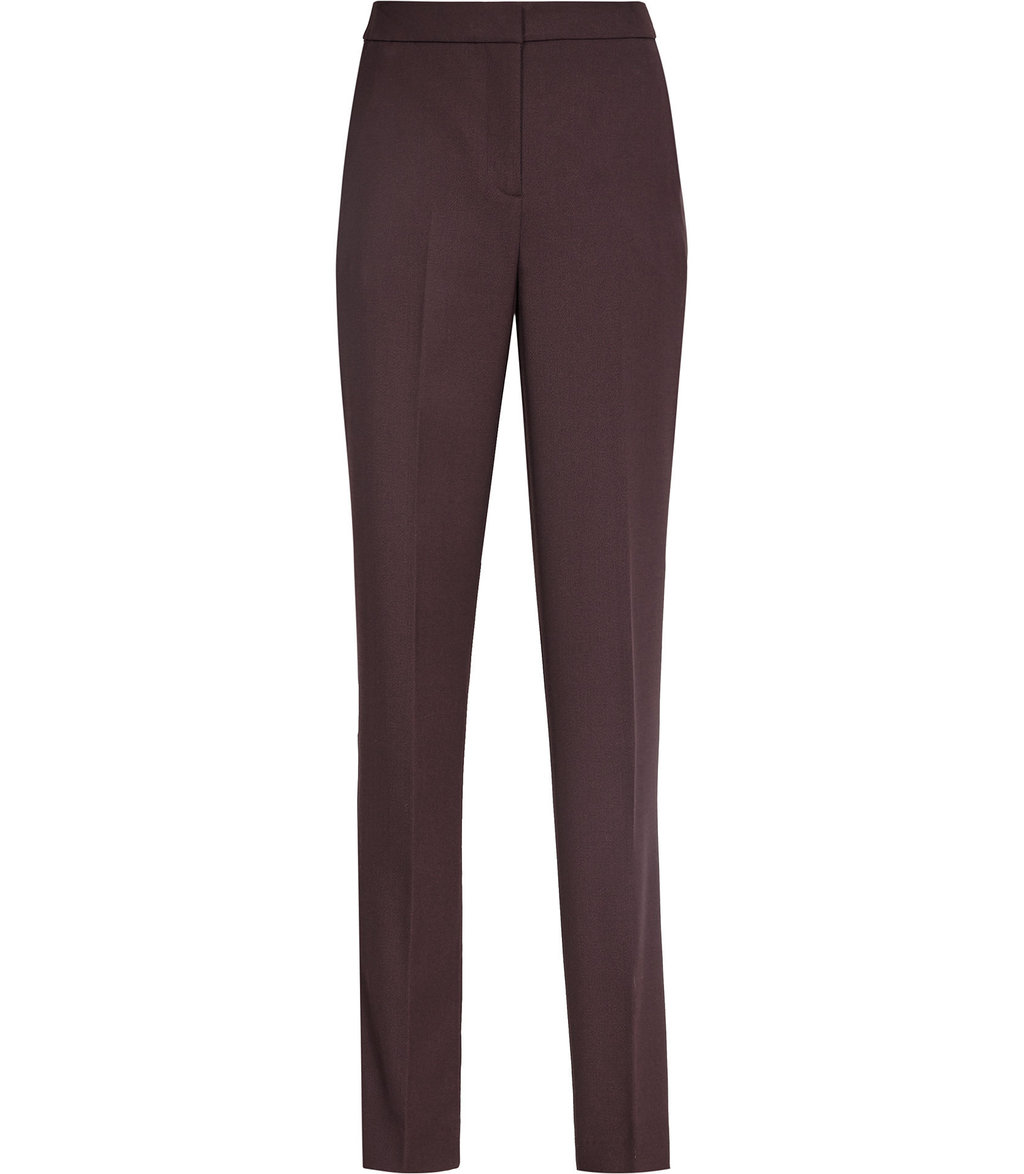 Nada Trouser Womens Tailored Trousers In Red - length: standard; pattern: plain; waist: high rise; predominant colour: burgundy; occasions: work; fibres: wool - stretch; texture group: crepes; fit: straight leg; pattern type: fabric; style: standard; season: a/w 2016; wardrobe: highlight