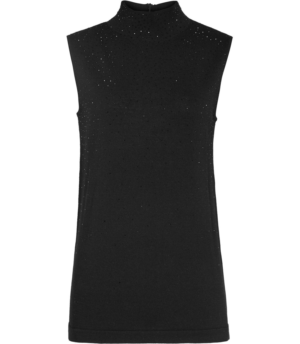 Faith Womens Sleeveless Knitted Top In Black - pattern: plain; sleeve style: sleeveless; neckline: roll neck; predominant colour: black; occasions: casual; length: standard; style: top; fit: body skimming; sleeve length: sleeveless; texture group: knits/crochet; pattern type: knitted - fine stitch; fibres: viscose/rayon - mix; season: a/w 2016