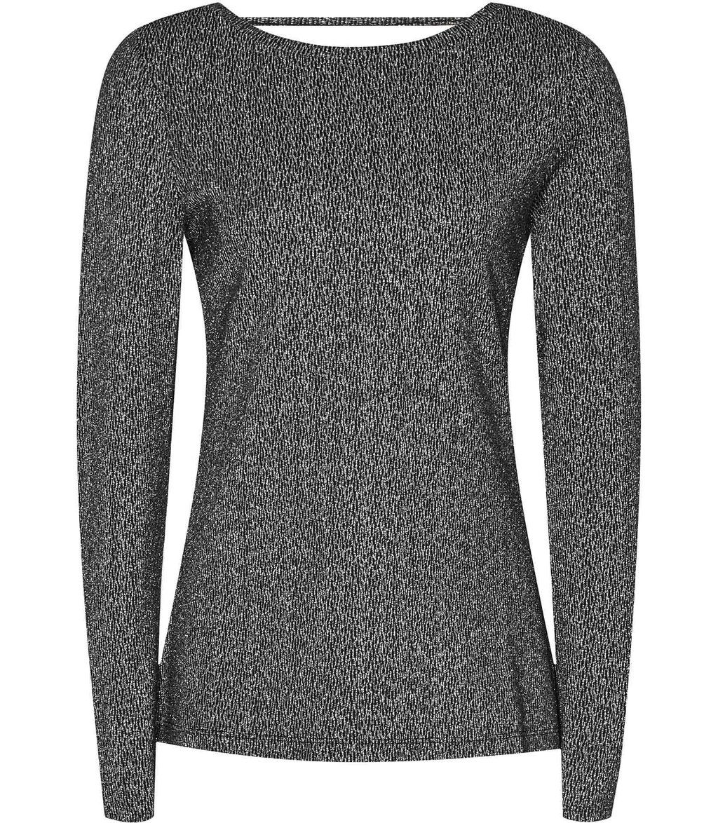 Kenna Womens Scoop Back Metallic Jumper In Black - neckline: scoop neck; pattern: plain; back detail: back revealing; style: standard; predominant colour: black; occasions: casual, creative work; length: standard; fibres: cotton - mix; fit: slim fit; sleeve length: long sleeve; sleeve style: standard; texture group: knits/crochet; pattern type: knitted - fine stitch; season: a/w 2016; wardrobe: highlight