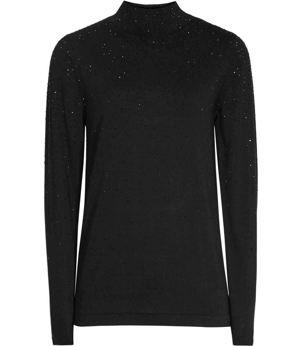 Souli Womens Embellished High Neck Jumper In Black - pattern: plain; neckline: high neck; style: standard; predominant colour: black; occasions: casual, creative work; length: standard; fibres: wool - mix; fit: slim fit; sleeve length: long sleeve; sleeve style: standard; texture group: knits/crochet; pattern type: knitted - fine stitch; embellishment: beading; season: a/w 2016; wardrobe: highlight; embellishment location: back, bust, neck, shoulder, sleeve/cuff