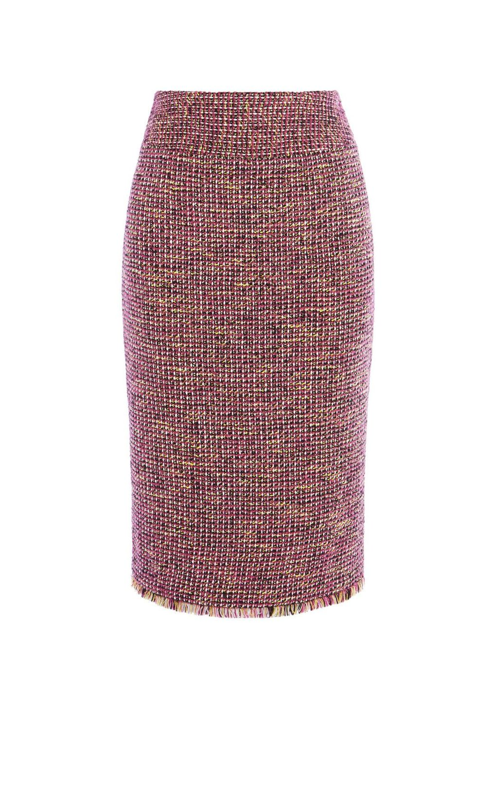 Fringed Tweed Skirt, Multi Coloured - length: below the knee; style: pencil; fit: tailored/fitted; pattern: herringbone/tweed; waist: mid/regular rise; predominant colour: hot pink; secondary colour: yellow; occasions: work, creative work; fibres: acrylic - mix; pattern type: fabric; texture group: tweed - light/midweight; pattern size: standard (bottom); multicoloured: multicoloured; season: a/w 2016; wardrobe: highlight