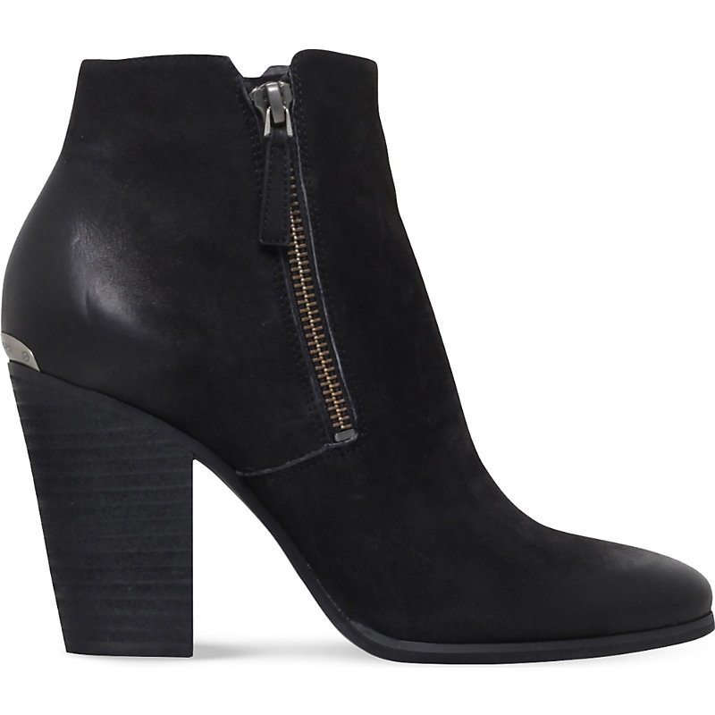 Denver Nubuck Block Heel Ankle Boots, Women's, Eur 36 / 3 Uk Women, Black - predominant colour: black; occasions: evening, work, creative work; material: leather; heel height: high; embellishment: zips; heel: block; toe: round toe; boot length: ankle boot; style: standard; finish: plain; pattern: plain; season: a/w 2016; wardrobe: highlight