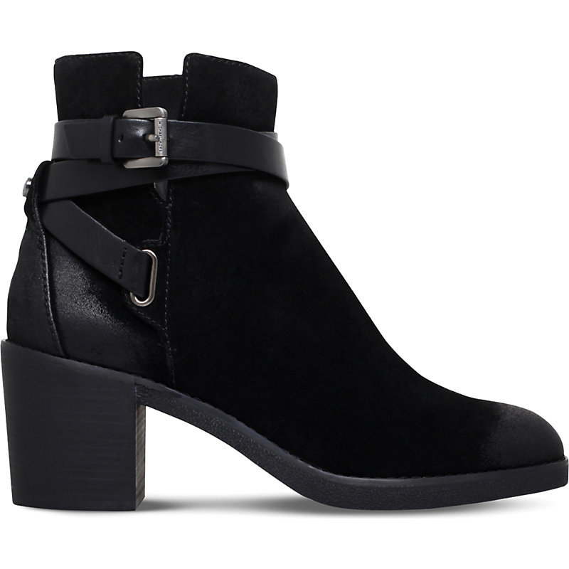Fawn Suede Ankle Boots, Women's, Eur 41 / 8 Uk Women, Black - predominant colour: black; occasions: work, creative work; material: suede; heel height: mid; embellishment: buckles; heel: block; toe: round toe; boot length: ankle boot; style: standard; finish: plain; pattern: plain; wardrobe: basic; season: a/w 2016