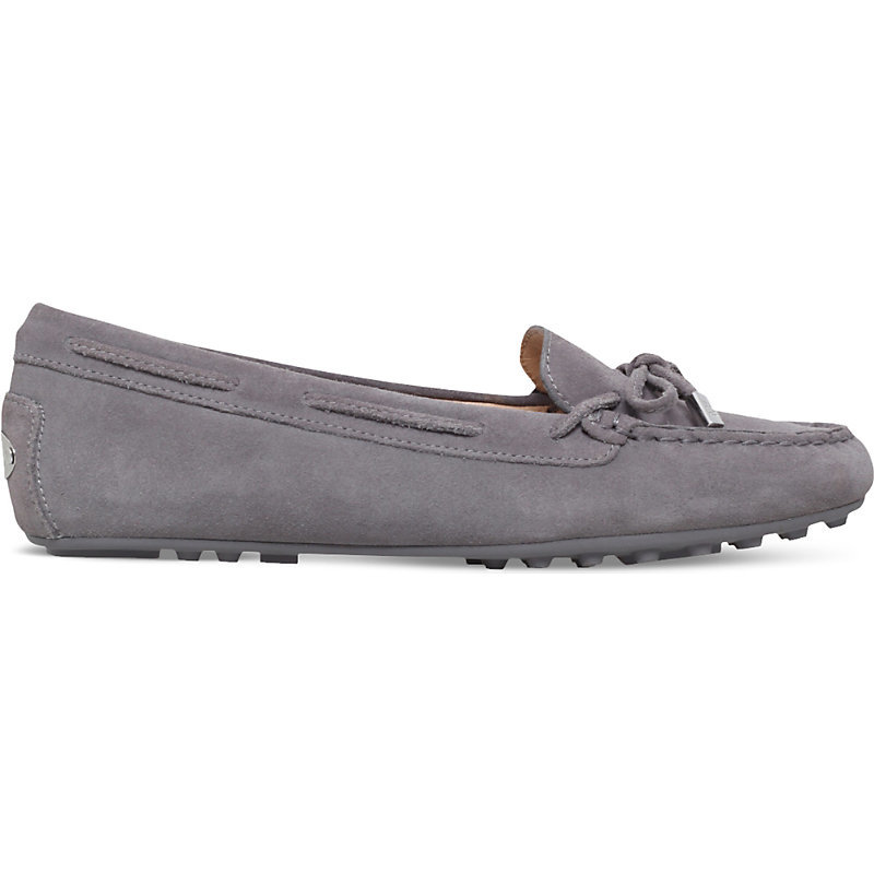Daisy Suede Moccasins, Women's, Eur 40.5 / 7.5 Uk Women, Grey/White/Grey - predominant colour: light grey; occasions: casual, creative work; material: suede; heel height: flat; toe: round toe; style: moccasins; finish: plain; pattern: plain; embellishment: bow; wardrobe: basic; season: a/w 2016