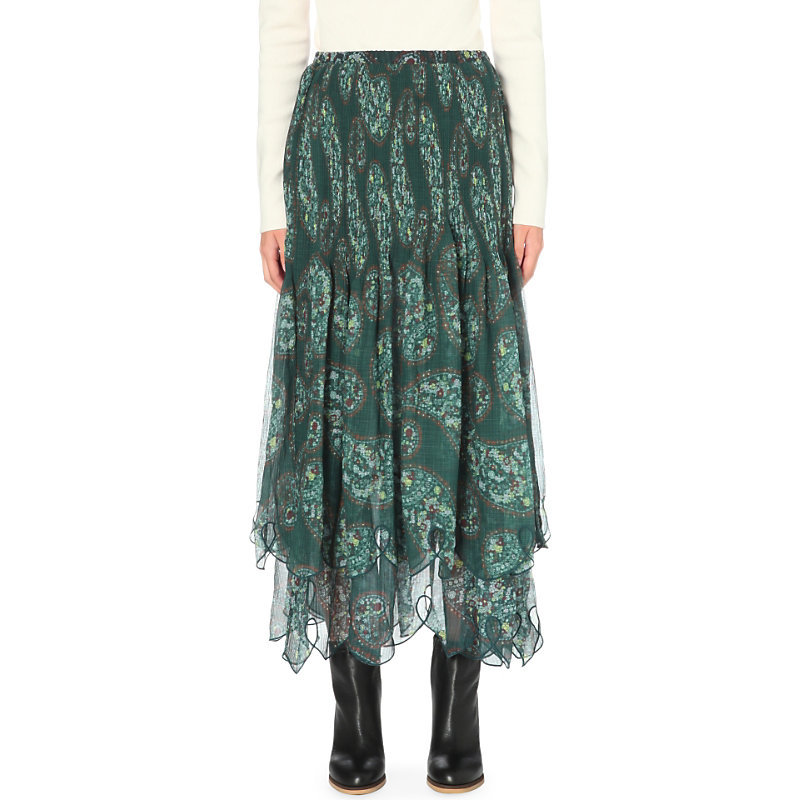 Paisley Print Cotton Georgette Skirt, Women's, Frosty Green - length: ankle length; fit: loose/voluminous; pattern: paisley; waist: high rise; secondary colour: ivory/cream; predominant colour: teal; occasions: casual; style: maxi skirt; fibres: cotton - mix; hip detail: subtle/flattering hip detail; texture group: sheer fabrics/chiffon/organza etc.; pattern type: fabric; pattern size: standard (bottom); season: a/w 2016; wardrobe: highlight