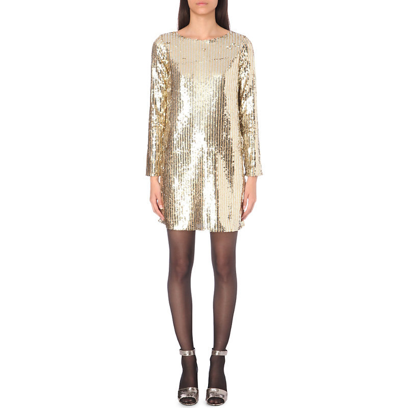 Random Sequined Dress, Women's, Or - style: shift; length: mid thigh; pattern: plain; predominant colour: gold; occasions: evening; fit: body skimming; fibres: polyester/polyamide - 100%; neckline: crew; sleeve length: long sleeve; sleeve style: standard; pattern type: fabric; texture group: other - light to midweight; embellishment: sequins; season: a/w 2016; wardrobe: event