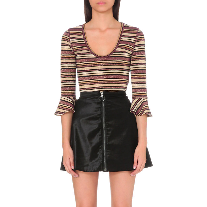 Surprise Metallic Thread Stripe Top, Women's, Size: Medium, Purple - pattern: horizontal stripes; style: t-shirt; sleeve style: volant; secondary colour: ivory/cream; predominant colour: chocolate brown; length: standard; neckline: scoop; fibres: acrylic - 100%; fit: tight; sleeve length: 3/4 length; texture group: knits/crochet; pattern type: knitted - fine stitch; pattern size: standard; occasions: creative work; wardrobe: basic; season: a/w 2016