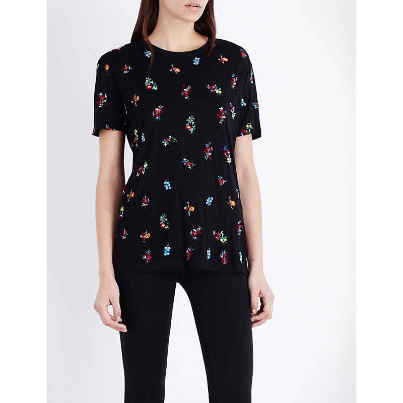 Floral Embroidered T Shirt, Women's, Size: Small, Black - style: t-shirt; secondary colour: diva blue; predominant colour: black; occasions: casual; length: standard; fibres: cotton - stretch; fit: body skimming; neckline: crew; sleeve length: short sleeve; sleeve style: standard; pattern type: fabric; pattern: florals; texture group: jersey - stretchy/drapey; embellishment: embroidered; multicoloured: multicoloured; season: a/w 2016
