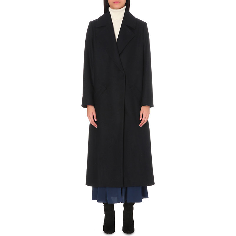 Faniry Longline Wool Blend Coat, Women's, Dark Blue/Gold - pattern: plain; fit: loose; style: single breasted; collar: standard lapel/rever collar; length: calf length; predominant colour: navy; occasions: casual, creative work; fibres: wool - mix; sleeve length: long sleeve; sleeve style: standard; collar break: medium; pattern type: fabric; texture group: woven bulky/heavy; wardrobe: basic; season: a/w 2016