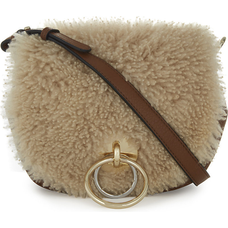 Love Power Leather And Shearling Saddle Bag, Women's, Brown/Gold/Natural - secondary colour: tan; predominant colour: stone; occasions: casual, creative work; type of pattern: standard; style: saddle; length: across body/long; size: standard; material: leather; pattern: plain; finish: plain; wardrobe: basic; season: a/w 2016