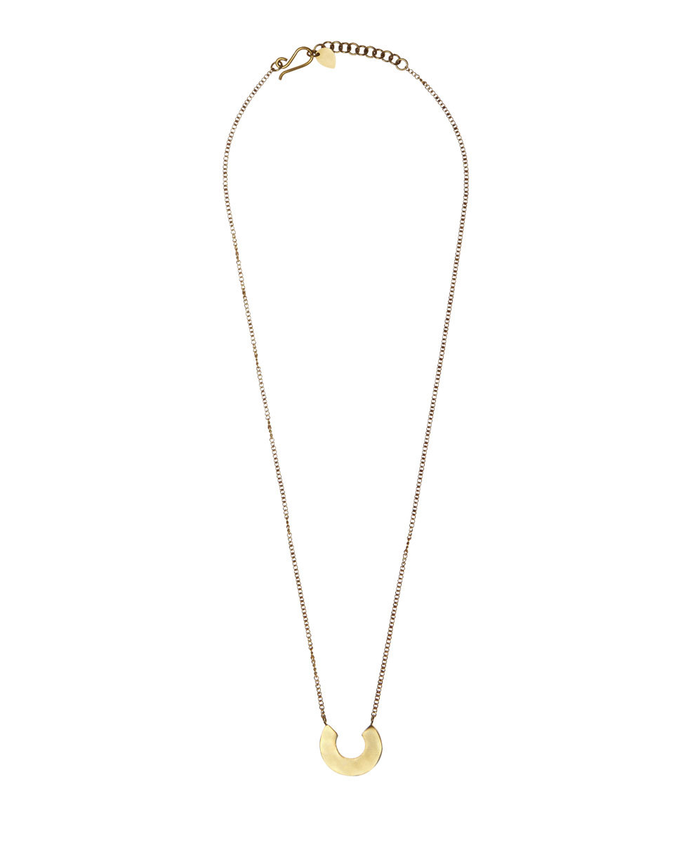Made Horseshoe Necklace - predominant colour: gold; occasions: casual, creative work; style: pendant; length: long; size: standard; material: chain/metal; finish: plain; season: a/w 2016