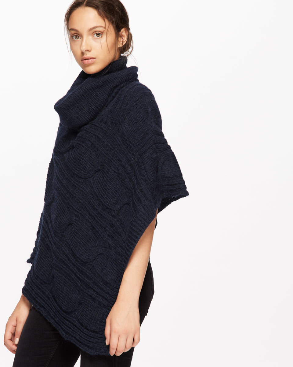 Cable Knit Roll Neck Poncho - length: below the bottom; neckline: roll neck; pattern: cable knit; style: poncho; predominant colour: navy; occasions: casual; fibres: wool - mix; fit: loose; sleeve length: short sleeve; texture group: knits/crochet; pattern type: knitted - other; sleeve style: cape/poncho sleeve; season: a/w 2016