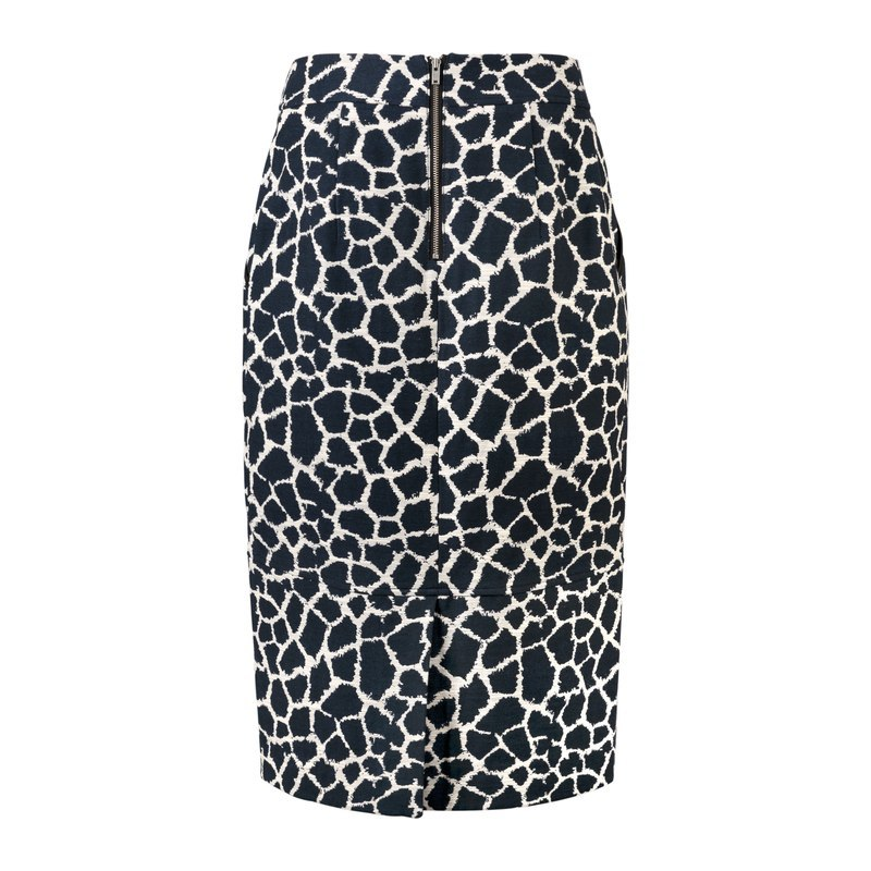 Fernanda Jacquard Pencil Skirt - length: calf length; style: pencil; fit: tailored/fitted; waist: high rise; secondary colour: white; predominant colour: navy; fibres: cotton - mix; pattern type: fabric; pattern: patterned/print; texture group: brocade/jacquard; occasions: creative work; multicoloured: multicoloured; season: a/w 2016; wardrobe: highlight