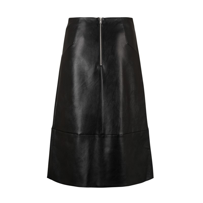 Rowe Vegan Leather Midi Skirt - length: below the knee; pattern: plain; fit: loose/voluminous; waist: mid/regular rise; predominant colour: black; occasions: evening; style: a-line; fibres: leather - 100%; texture group: leather; pattern type: fabric; season: a/w 2016; wardrobe: event