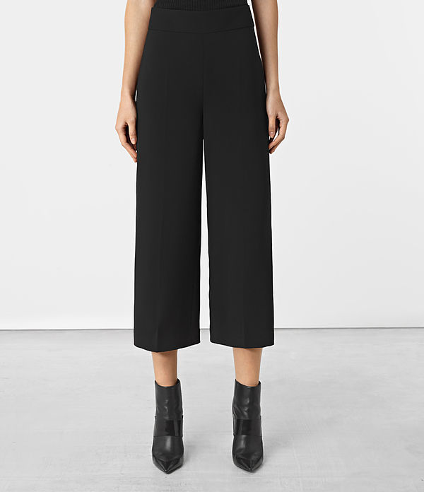 Arya Trousers - length: standard; pattern: plain; waist: high rise; style: wide leg; predominant colour: black; fibres: polyester/polyamide - 100%; texture group: crepes; pattern type: fabric; occasions: creative work; season: a/w 2016; wardrobe: highlight
