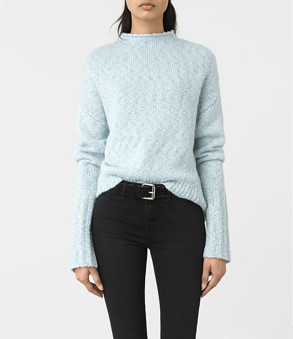 Popcorn Funnel Neck Jumper - pattern: plain; neckline: high neck; style: standard; predominant colour: pale blue; occasions: casual, creative work; length: standard; fibres: wool - mix; fit: standard fit; sleeve length: long sleeve; sleeve style: standard; texture group: knits/crochet; pattern type: knitted - fine stitch; season: a/w 2016; wardrobe: highlight