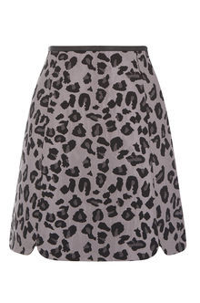 Animal Jacquard Skirt - length: mini; fit: tailored/fitted; waist: high rise; predominant colour: mid grey; secondary colour: black; style: a-line; fibres: polyester/polyamide - 100%; pattern type: fabric; pattern: animal print; texture group: brocade/jacquard; occasions: creative work; pattern size: standard (bottom); season: a/w 2016