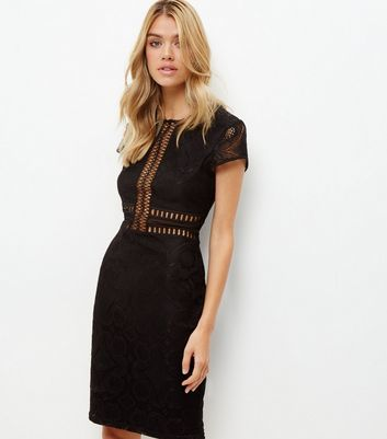 Black Premium Lace Mesh Panel Bodycon Dress - fit: tight; pattern: plain; style: bodycon; predominant colour: black; occasions: evening; length: on the knee; neckline: crew; sleeve length: short sleeve; sleeve style: standard; texture group: jersey - clingy; pattern type: fabric; fibres: nylon - stretch; season: a/w 2016; wardrobe: event