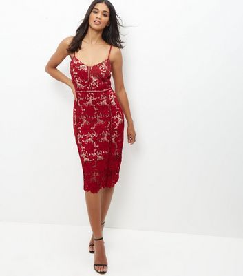 Dark Red Premium Ladder Lace Bodycon Midi Dress - length: below the knee; neckline: low v-neck; sleeve style: spaghetti straps; fit: tight; pattern: plain; style: bodycon; predominant colour: burgundy; occasions: evening; fibres: polyester/polyamide - 100%; sleeve length: sleeveless; texture group: jersey - clingy; pattern type: fabric; season: a/w 2016; wardrobe: event