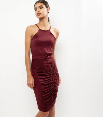Burgundy Ruched Side Midi Dress - fit: tight; pattern: plain; sleeve style: sleeveless; style: bodycon; predominant colour: burgundy; occasions: evening; length: on the knee; fibres: polyester/polyamide - stretch; neckline: crew; sleeve length: sleeveless; texture group: jersey - clingy; pattern type: fabric; season: a/w 2016; wardrobe: event
