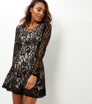 Black Lace V Neck Skater Dress - length: mid thigh; neckline: v-neck; predominant colour: black; occasions: evening; fit: fitted at waist & bust; style: fit & flare; fibres: nylon - 100%; sleeve length: long sleeve; sleeve style: standard; texture group: lace; pattern type: fabric; pattern: patterned/print; season: a/w 2016; wardrobe: event