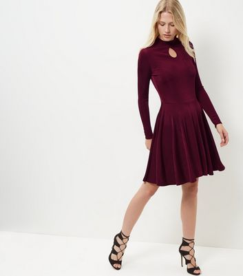 Burgundy Keyhole Funnel Neck Long Sleeve Swing Dress - pattern: plain; predominant colour: burgundy; occasions: evening; length: on the knee; fit: fitted at waist & bust; style: fit & flare; neckline: peep hole neckline; fibres: viscose/rayon - stretch; sleeve length: long sleeve; sleeve style: standard; pattern type: fabric; texture group: jersey - stretchy/drapey; season: a/w 2016; wardrobe: event