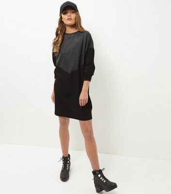 Black Chevron Colour Block Jumper Dress - style: jumper dress; fit: loose; predominant colour: charcoal; secondary colour: black; occasions: casual; length: just above the knee; fibres: polyester/polyamide - stretch; neckline: crew; sleeve length: long sleeve; sleeve style: standard; pattern type: fabric; pattern: colourblock; texture group: jersey - stretchy/drapey; multicoloured: multicoloured; season: a/w 2016; wardrobe: highlight