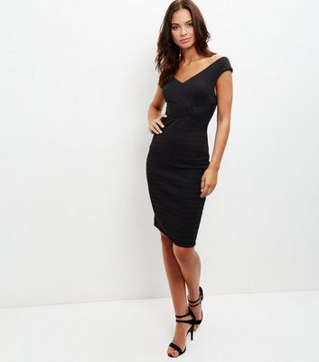 Black Ribbed V Neck Bodycon Dress - neckline: low v-neck; sleeve style: capped; fit: tight; style: bodycon; predominant colour: black; occasions: evening; length: on the knee; fibres: polyester/polyamide - stretch; sleeve length: short sleeve; texture group: jersey - clingy; pattern type: fabric; pattern: patterned/print; season: a/w 2016; wardrobe: event