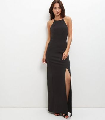 Black Split Side Diamante Strap Maxi Dress - fit: tight; pattern: plain; sleeve style: sleeveless; style: maxi dress; hip detail: draws attention to hips; predominant colour: black; occasions: evening; length: floor length; fibres: polyester/polyamide - stretch; neckline: crew; sleeve length: sleeveless; texture group: jersey - clingy; pattern type: fabric; season: a/w 2016; wardrobe: event