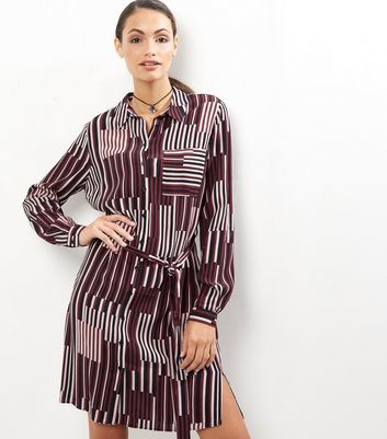 Burgundy Contrast Stripe Tie Waist Shirt Dress - style: shirt; neckline: shirt collar/peter pan/zip with opening; fit: loose; waist detail: belted waist/tie at waist/drawstring; secondary colour: ivory/cream; predominant colour: burgundy; occasions: casual; length: just above the knee; fibres: viscose/rayon - 100%; sleeve length: long sleeve; sleeve style: standard; texture group: crepes; pattern type: fabric; pattern: patterned/print; multicoloured: multicoloured; season: a/w 2016; wardrobe: highlight
