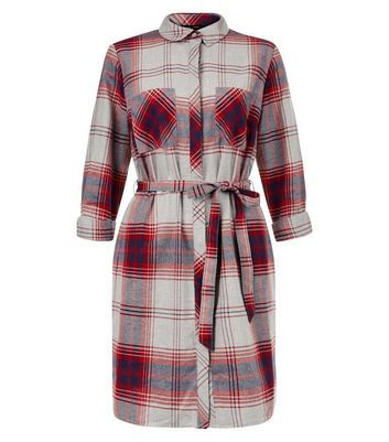 Light Grey Check Double Pocket Tie Waist Shirt Dress - style: shirt; length: mid thigh; neckline: shirt collar/peter pan/zip with opening; pattern: checked/gingham; waist detail: belted waist/tie at waist/drawstring; secondary colour: true red; predominant colour: light grey; occasions: casual; fit: body skimming; fibres: cotton - 100%; sleeve length: 3/4 length; sleeve style: standard; texture group: cotton feel fabrics; pattern type: fabric; multicoloured: multicoloured; season: a/w 2016; wardrobe: highlight