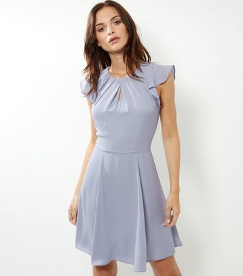 Silver Pleated Neck Flutter Sleeve Skater Dress - sleeve style: capped; pattern: plain; predominant colour: pale blue; occasions: evening; length: on the knee; fit: fitted at waist & bust; style: fit & flare; neckline: peep hole neckline; fibres: polyester/polyamide - stretch; sleeve length: short sleeve; pattern type: fabric; texture group: jersey - stretchy/drapey; season: a/w 2016; wardrobe: event