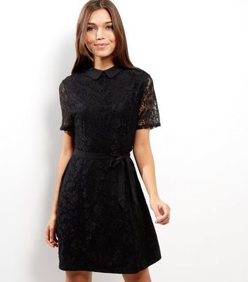 Black Lace Collar Skater Dress - pattern: plain; predominant colour: black; occasions: evening; length: on the knee; fit: fitted at waist & bust; style: fit & flare; fibres: polyester/polyamide - 100%; neckline: no opening/shirt collar/peter pan; sleeve length: short sleeve; sleeve style: standard; texture group: lace; pattern type: fabric; pattern size: standard; season: a/w 2016; wardrobe: event