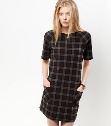 Grey Check Tunic Dress - style: shift; pattern: checked/gingham; secondary colour: mid grey; predominant colour: black; occasions: casual, creative work; length: just above the knee; fit: body skimming; fibres: polyester/polyamide - stretch; neckline: crew; sleeve length: short sleeve; sleeve style: standard; texture group: corduroy; pattern type: fabric; multicoloured: multicoloured; season: a/w 2016; wardrobe: highlight