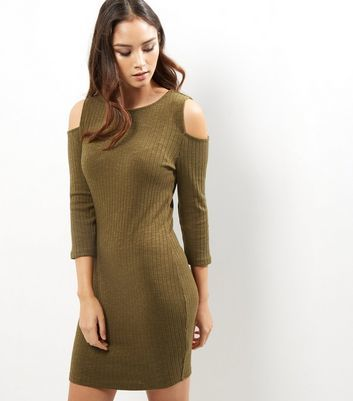 Khaki Ribbed Cold Shoulder Bodycon Dress - length: mid thigh; fit: tight; pattern: plain; style: bodycon; predominant colour: khaki; occasions: casual; fibres: polyester/polyamide - stretch; neckline: crew; shoulder detail: cut out shoulder; sleeve length: 3/4 length; sleeve style: standard; texture group: jersey - clingy; pattern type: fabric; season: a/w 2016; wardrobe: highlight