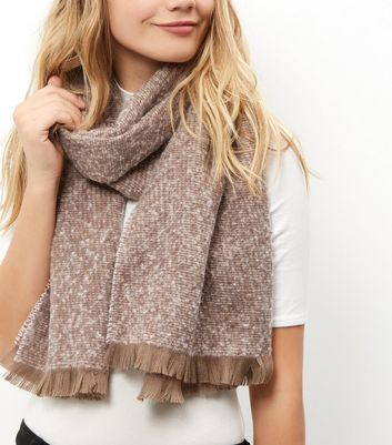 Pink Boucle Textured Scarf - predominant colour: nude; occasions: casual; type of pattern: standard; style: regular; size: standard; material: fabric; pattern: plain; wardrobe: basic; season: a/w 2016