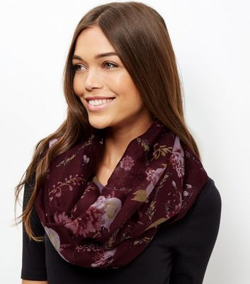 Burgundy Floral Print Snood - predominant colour: burgundy; occasions: casual; type of pattern: heavy; style: snood; size: standard; material: fabric; pattern: florals; season: a/w 2016; wardrobe: highlight