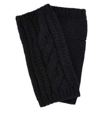 Black Cable Knit Handwarmer - predominant colour: black; occasions: casual; type of pattern: standard; style: fingerless; length: half; material: knits; pattern: knit; wardrobe: basic; season: a/w 2016