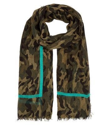 Khaki Camo Print Contrast Trim Scarf - secondary colour: turquoise; predominant colour: khaki; occasions: casual, creative work; type of pattern: standard; style: regular; size: standard; material: fabric; pattern: camouflage; multicoloured: multicoloured; season: a/w 2016; wardrobe: highlight