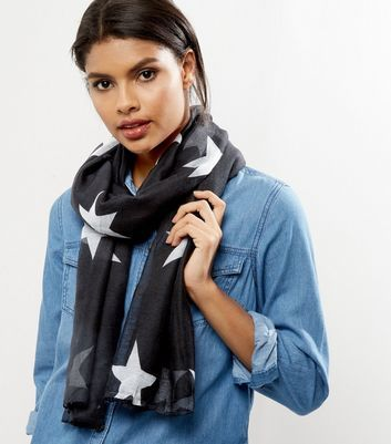 Black Star Print Longline Scarf - predominant colour: black; occasions: casual; type of pattern: heavy; style: regular; size: standard; material: fabric; pattern: patterned/print; season: a/w 2016; wardrobe: highlight