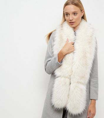 White Faux Fur Stole - predominant colour: white; occasions: occasion; type of pattern: standard; size: large; material: fur; pattern: plain; style: stole; season: a/w 2016; wardrobe: event