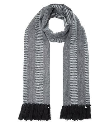 Monochrome Stripe Herringbone Fringed Scarf - predominant colour: black; occasions: casual, creative work; type of pattern: standard; style: regular; size: standard; material: fabric; pattern: herringbone/tweed; season: a/w 2016; wardrobe: highlight
