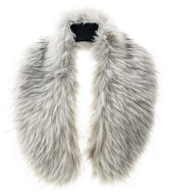 Grey Faux Fur Oversized Collar - predominant colour: light grey; occasions: casual; type of pattern: standard; size: standard; material: faux fur; pattern: plain; style: stole; season: a/w 2016