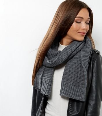 Dark Grey Ribbed Scarf - predominant colour: charcoal; occasions: casual; type of pattern: standard; style: regular; size: standard; material: knits; pattern: plain; wardrobe: basic; season: a/w 2016
