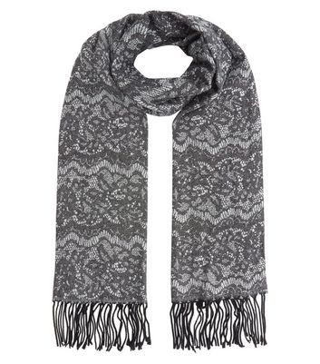 Dark Grey Lace Print Fringed Scarf - secondary colour: ivory/cream; predominant colour: charcoal; occasions: casual, creative work; type of pattern: standard; style: regular; size: standard; material: fabric; embellishment: fringing; pattern: patterned/print; season: a/w 2016