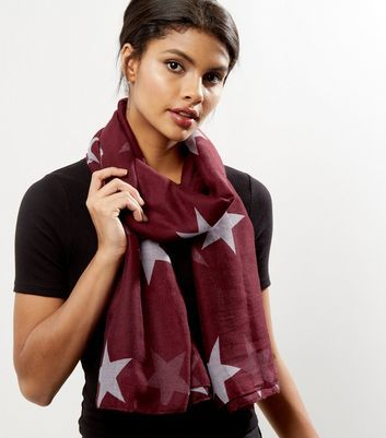 Burgundy Star Print Longline Scarf - predominant colour: burgundy; secondary colour: light grey; occasions: casual, creative work; type of pattern: standard; style: regular; size: standard; material: fabric; pattern: patterned/print; season: a/w 2016